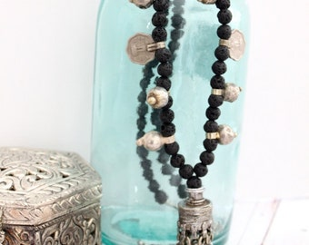 Banjara Traditional vintage dangling element Black Lava beaded necklace Tribal Nomad Bohemian statement layering necklace by Inali
