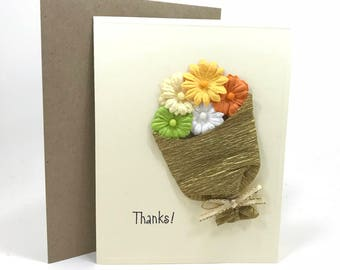 Hand made card, Flower card, all occasion card, thank you card,