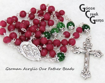 Birthstone German Acrylic Pater Beads- Rose Petal Bead Rosary- Example of a Custom Rosary Made from Customer's Roses