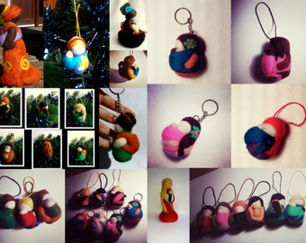 Baby wearing Mamas hand felted ornaments or key rings / Needle felted/ Made for order/ Babywearing