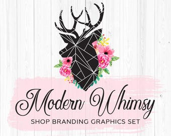 Deer & Shabby Roses Etsy Shop Banners, Avatar Icons, Business Card, Logo Label + More - 13 Premade Branding Graphics Files - MODERN WHIMSY