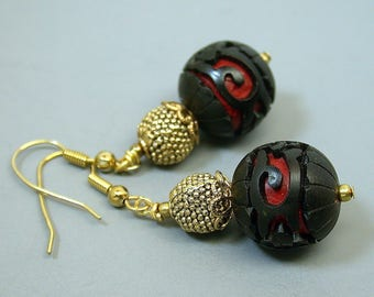 Vintage Chinese Black Floral Cinnabar Collectible Bead Dangle Drop Earrings ,Gold Bead - GIFT WRAPPED JEWELRY