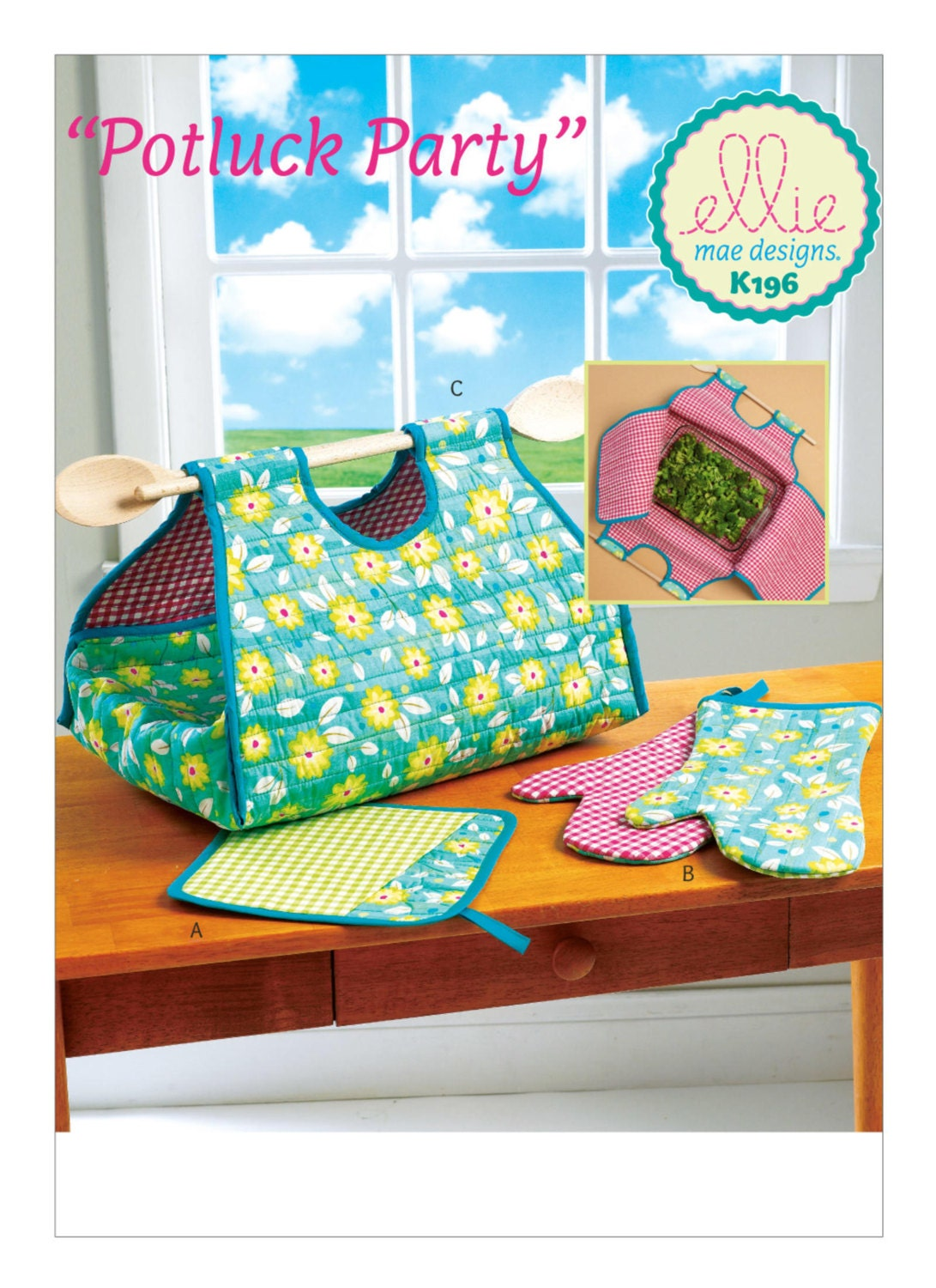 Sewing Pattern for Potholder, Oven Mitts, and Casserole Carrier ...