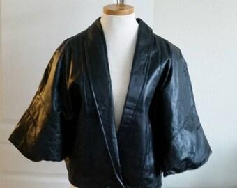 Leather 80s batwing black jacket shirt S M