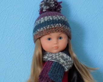Hat and scarf for dolls Corolle Les Cheries, Paola Reina 13 inch.