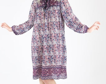 Lovely Vintage 70's Indian Gauze Ruffle Neck Bohemian Floral Hippie Dress