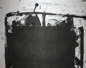 """Abstract Minimal  Black Untitled No.3465 Ink on Paper 24x18"""" Original"""