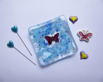 Ring earring dish blue butterfly dish fused glass birthday christmas nature lover childs teachers gift Mothers Day stocking filler