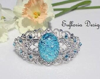 Aquamarine Bracelet | Victorian Bridal Bracelet | Silver Blue Opal Cuff | Crystal Bracelet | March Birthstone Bracelet Gift | Something Blue