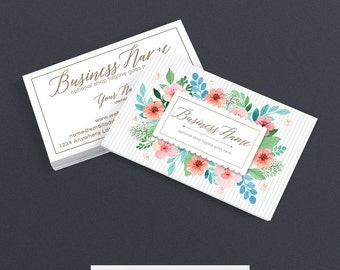 Business Card Designs - 2 Sided Printable Business Card Design - Floral Business Card - Stylish Business Card - Polly