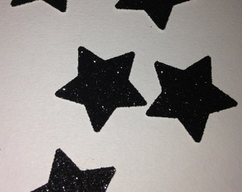 Black Glitter Large Star Confetti - Party Decorations - Wedding/Table confetti star shaped glittery sparkles halloween