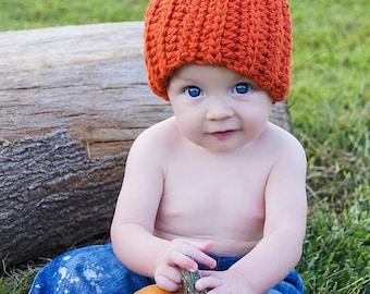 Crochet Pumpkin Hat, Size Newborn, 3 Month, Halloween, Fall, Autumn, October, Baby's First Halloween, Baby Pumpkin, Ready To Ship