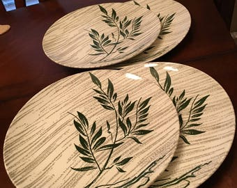 Royal C 55 Underglaze Set of 4 Dinner Plates - Green Branch / Limb with Leaves and Gray Stripes in the Background