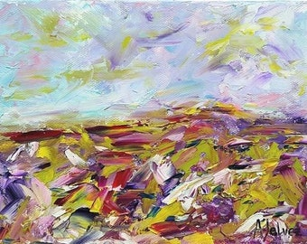 Oil painting landscape Abstract landscape Abstract oil painting Abstract nature art Landscape wall art Nature décor Colorful wall décor 6x8""