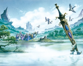 Excalibur (Tales of King Arthur) full colour original painting by Rodney Matthews
