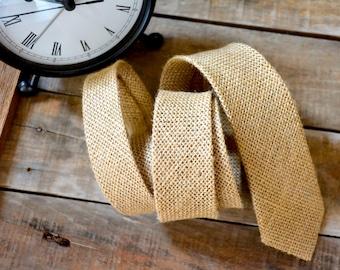 rustic necktie/natural burlap necktie/burlap wedding necktie/real burlap