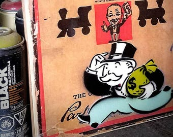 Vintage Monopoly Mixed Media Graffiti Art Painting on Photo Transfer Original Art on Handmade Canvas Home Decor  Take the Money and Run