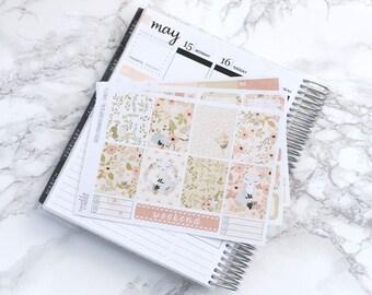 Final Sale // Foxy Floral ESSENTIALS Planner Sticker Kit (3 Sheets + Headers) - For Erin Condren Vertical