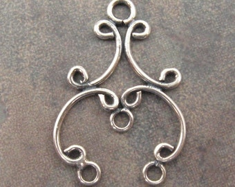 Bali Oxidized Sterling Silver Chandelier Pair - 23 x 16mm