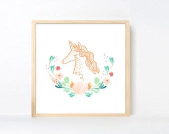 Unicorn Art Printable, Peach Aqua Green Flower Wall Art, Unicorn Nursery Girl, Watercolor Flowers Nursery Art Girl Animal, Animal Artwork