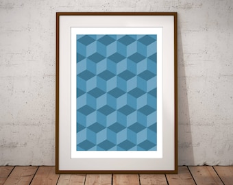 Cube Wall Art Print, Cube Art Poster, Geometric Wall Art Print, Cube Pattern Print, Optical Illusion Print, 3D Cube Art, Minimalist Wall Art