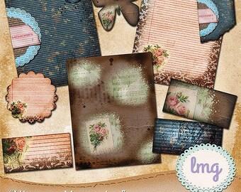 "Vintage Digital Scrapbook Papers - ""Vintage Memories"" - Junk Journal Papers, Collage Papers, 8.5x11, Travelers Notebook, Commercial Use"