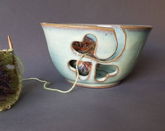 Green Shamrock Clover Lucky Yarn Bowl Large Size