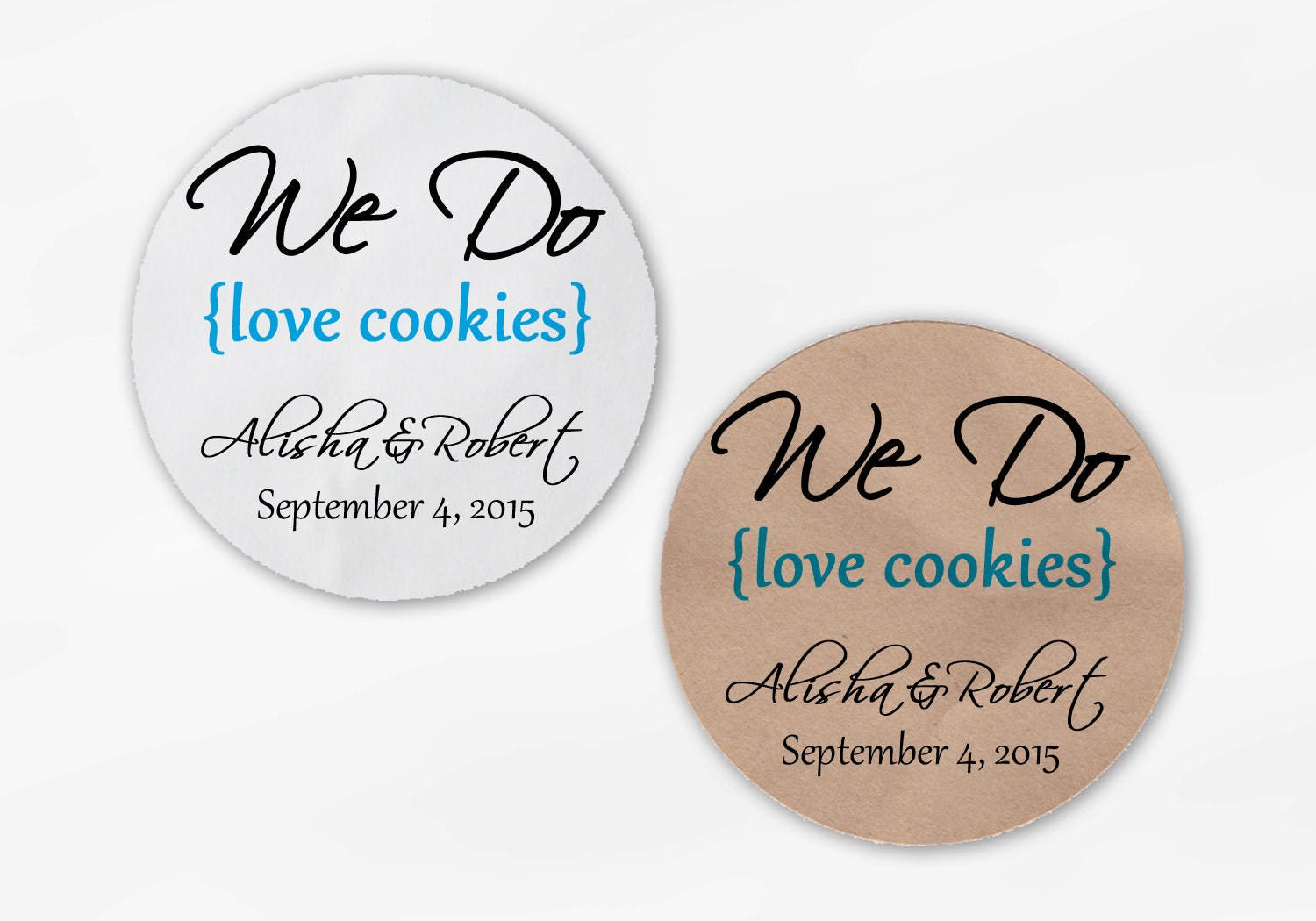 We Do Love Cookies Personalized Wedding Favor Stickers - Turquoise ...