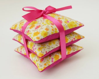 Lavender Pillow Trio, Drawer Sachets in Yellow and Pink Ditsy Floral Fabric, Gift for Mum, Women's Gift