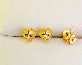 Solid 22k gold 916 gold sandy heart earrings earstuds