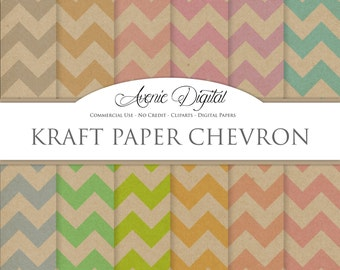 Kraft chevronDigital Paper. Scrapbooking Backgrounds, Cardboard patterns for Commercial Use. Brown Paper textures. Clipart Instant Download.