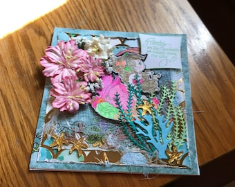 Greeting Card-Pretty in Pink Mermaid  NEW LOWER PRICE