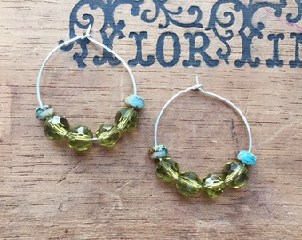 Everyday Style & Perfect Affordable Holiday Gift! WOMEN'S EARRINGS, Silver Earrings, Beaded, Green, Turquoise, Silver Hoops, Beaded Earrings