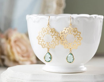 Seafoam Aqua Teadrop Gold Lace Filigree Dangle Earrings Aquamarine Blue Glass Crystal Chandelier Earrings Boho Chic Bohemian Wedding Jewelry