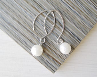 Long White Pearl Drop Earrings, Nickel Free Bridal Jewelry, Titanium Dangle, Modern, Contemporary, Faceted, Wedding Accessory