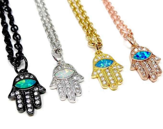 HAMSA: delicate pave necklaces in multiple finishes