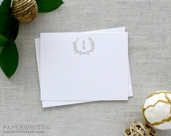 Laurel Wreath Wedding Thank You Notes, Laurel Wreath Monogram Personalized Note Cards - SET OF 25 Cards