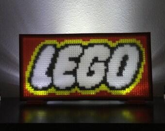 Translucent LEGO mosaic of LEGO logo