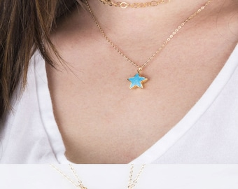 Gemstone Star Necklace, Gold Gemstone Star Necklace, Lucky Star Necklace, Friendship Necklace, Star Shaped Gemstone Necklace, Gift for Her