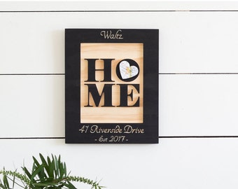 New Home Housewarming gift, Our First Home Gift, Carved Wood Home Sign, Map Art, Gift for Couple, Personalized Sign, Entryway Decor, 9x11