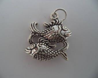 STERLING SILVER 3D Pisces Horoscope Charm for Charm Bracelet