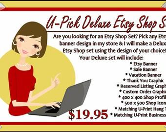 Premade ETSY Shop Set - Etsy Cover Photo - SHOP ICON - Shop Profile - Digital Business Cards - Hang Tags - Etsy Banner Design