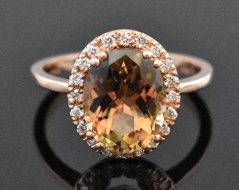 14K Rose Gold Tourmaline and Diamond Ring | Engagement Ring | Wedding Ring | Anniversary Ring | Statement Ring | Diamond Halo | Handmade