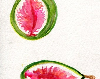 Figs Original Watercolor Painting, Fruit 4 x 6 kitchen, food art, fig illustration, fig painting, SharonFosterArt