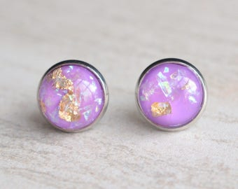 Purple Gold Silver Lucite Bridesmaid Stud Earrings