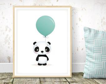 Animal nursery print - Panda nursery art, kids room decor, new baby gift, kids illustration, cute kids room decor, cute kids art, baby decor