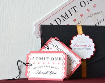 Movie Night Gift Tags: Adorn favors and treat bags with these cinema style ticket tags, customization available- LRD025TG