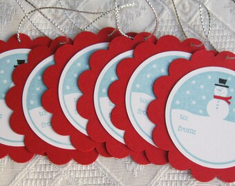 Red and Blue Snowman Gift Tags // Holiday gift Tags // Christmas Gift Tags (set of 6)