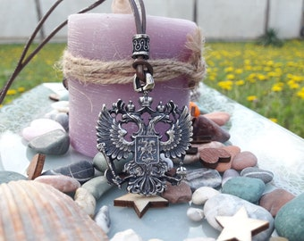 Russian double headed eagle coat of arms leather necklace with pearl,Russian federation eagle jewelry,Russian emblem,symbol of Russia
