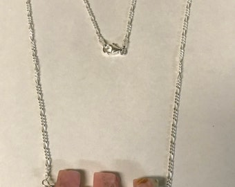 Genuine Raw Pink Opal Necklace with sterling silver chain - Made in Vt